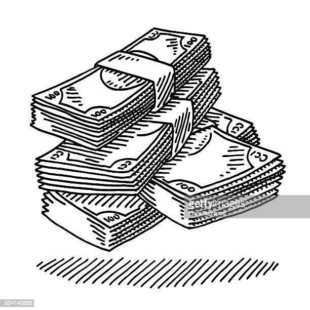 ilustraciones, imágenes clip art, dibujos animados e iconos de stock de los billetes de dinero dibujo - fajo de billetes