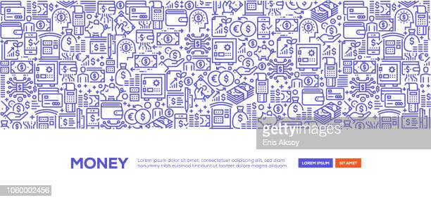 money banner - financial technology stock illustrations, clip art, cartoons, & icons