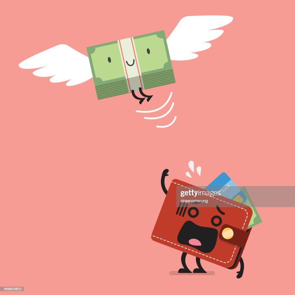 Money bill flying out of wallet character