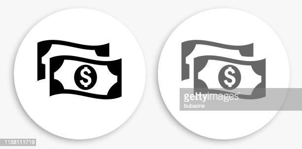 money black and white round icon - dollar sign stock illustrations