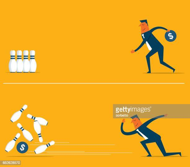 money bowling with businessman - bowling stock illustrations, clip art, cartoons, & icons