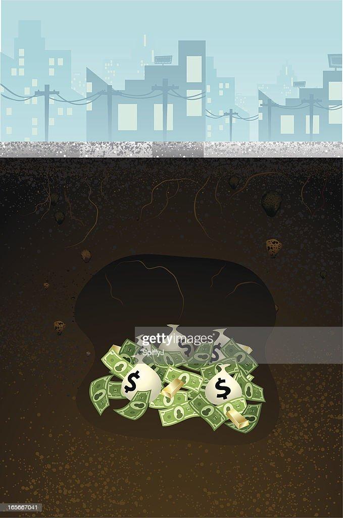 Enterrada sob o solo (concreto : Ilustração