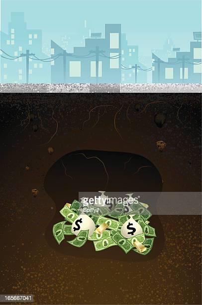 money buried underneath ground (concrete) - hidden stock illustrations, clip art, cartoons, & icons