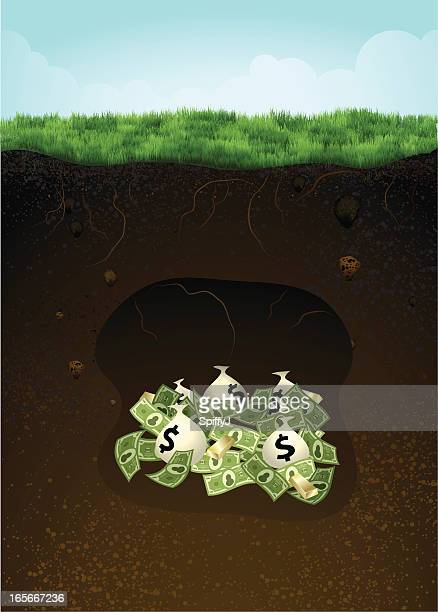 money buried underneath ground (grass) - buried stock illustrations, clip art, cartoons, & icons