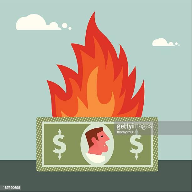 money burning - money to burn stock illustrations, clip art, cartoons, & icons