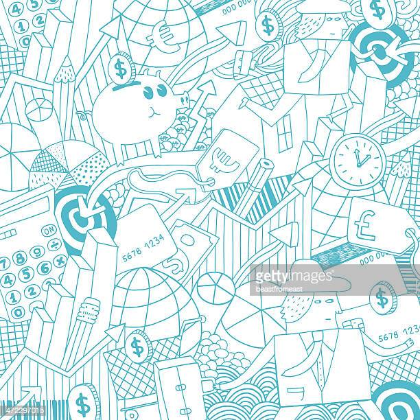 Money, business, finance and real estate background pattern
