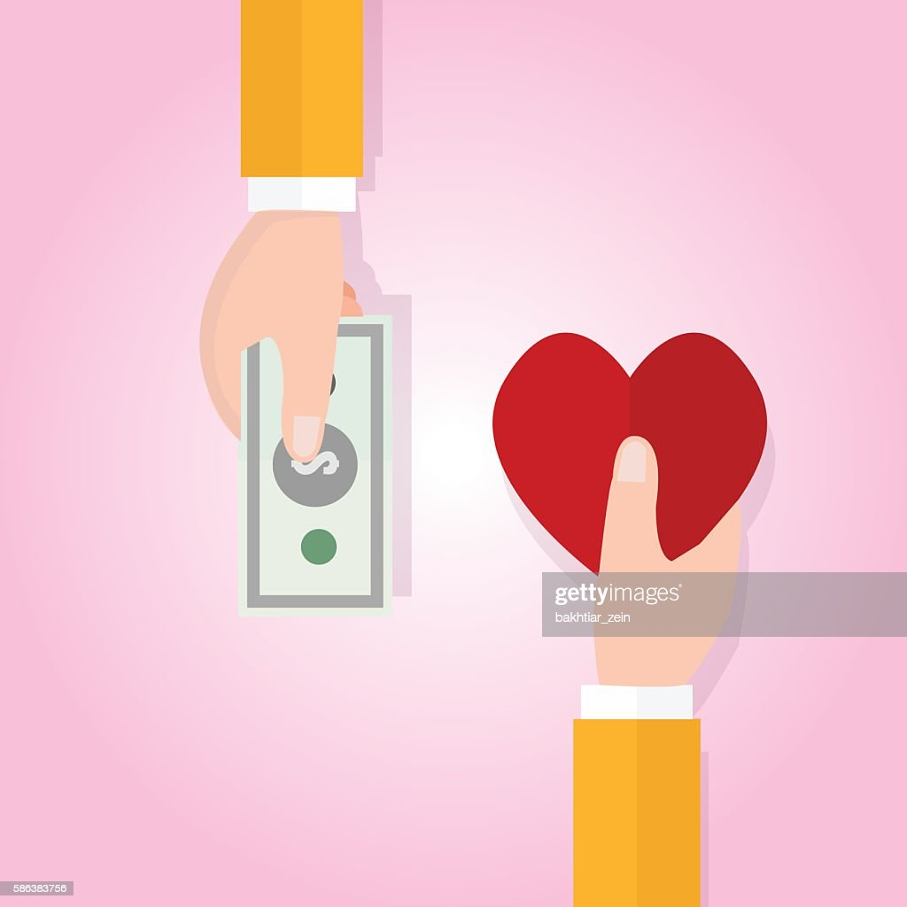 Money Buying Love Happiness Heart Shape Symbol Price Vector Art