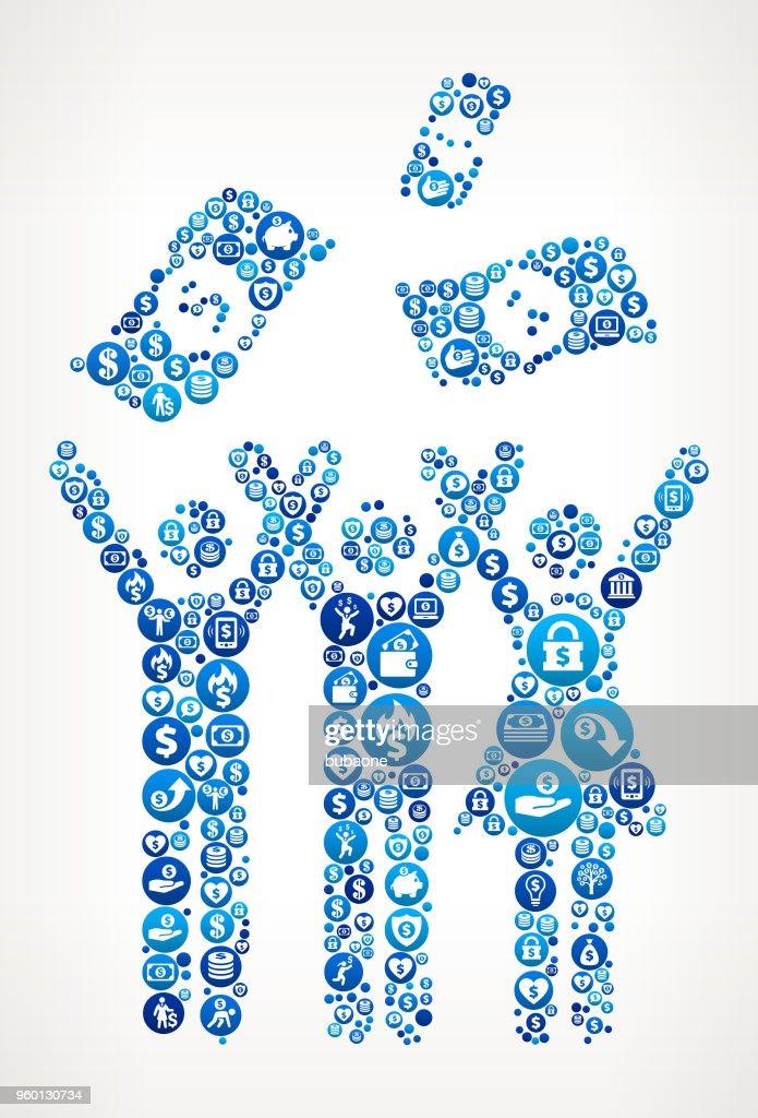 Geld Feier Geld blaues Symbol Muster Hintergrund : Stock-Illustration