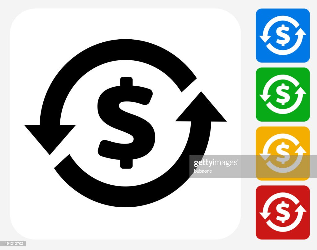 Money Circulation Icon Flat Graphic Design