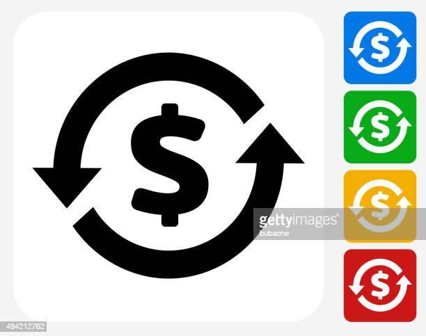 illustrazioni stock, clip art, cartoni animati e icone di tendenza di denaro circolazione icona piatto di design grafico - rinviare la palla