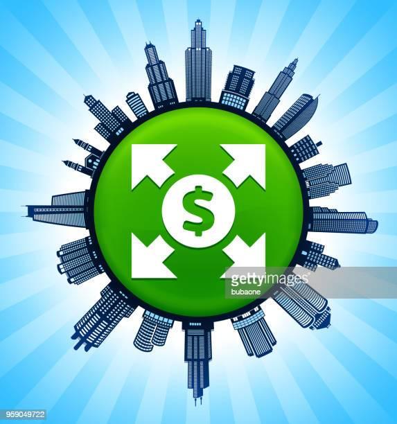 money circulation  on modern cityscape skyline background - cardiopulmonary system stock illustrations, clip art, cartoons, & icons