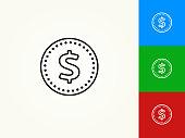 Money Coin Black Stroke Linear Icon