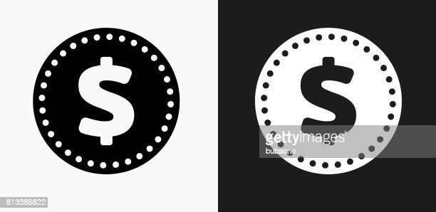 Money Coin Icon on Black and White Vector Backgrounds