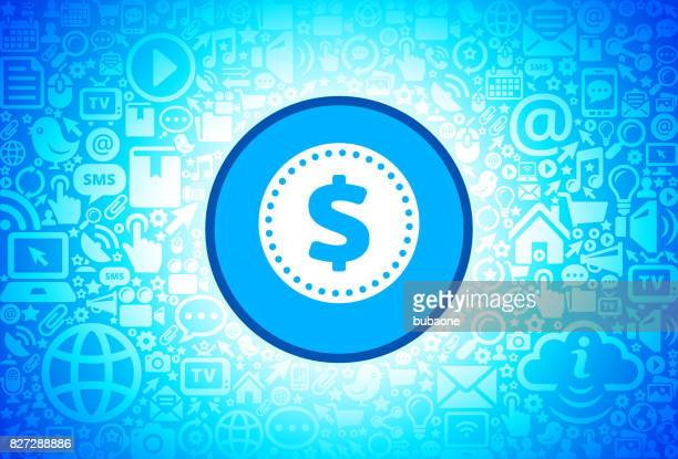 Money Coin  Icon on Internet Technology Background