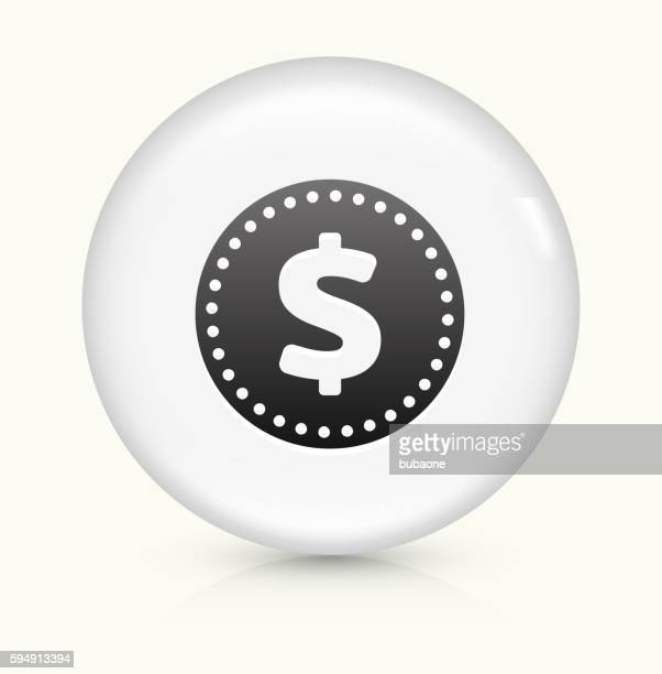 money coin icon on white round vector button - money to burn stock illustrations, clip art, cartoons, & icons