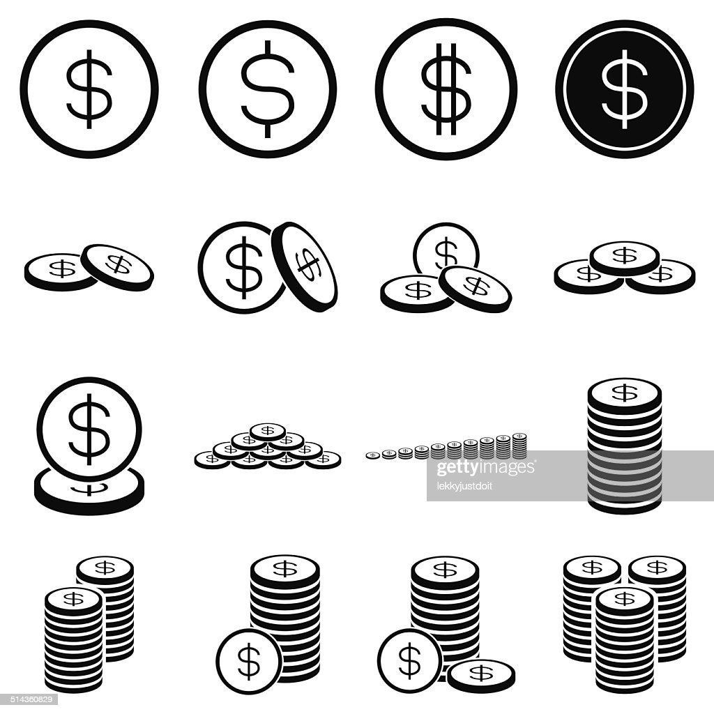 Money coin icon set on white background
