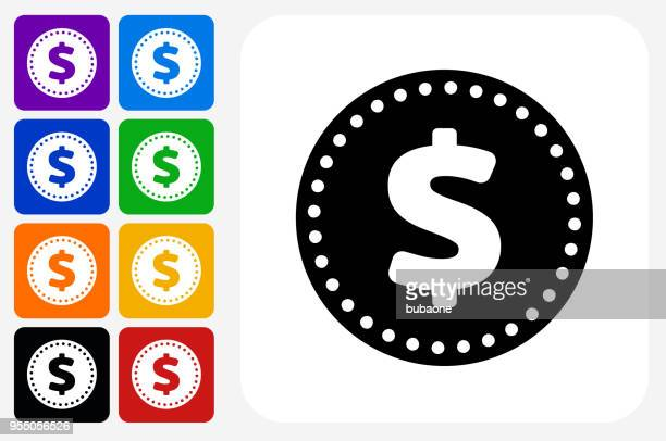 Money Coin Icon Square Button Set