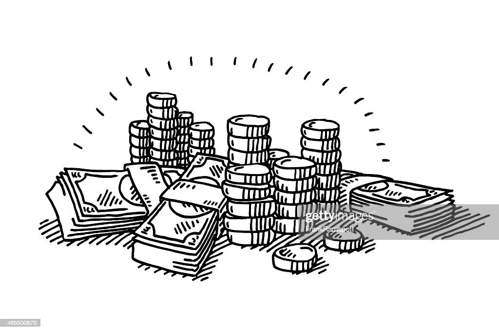 Line Drawing Money : Money coins and banknotes drawing vector art getty images