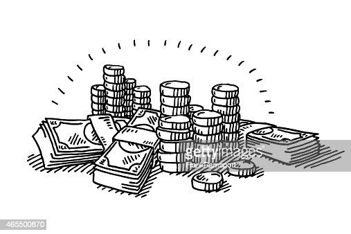 Money Coins And Banknotes Drawing Vector Art | Getty Images
