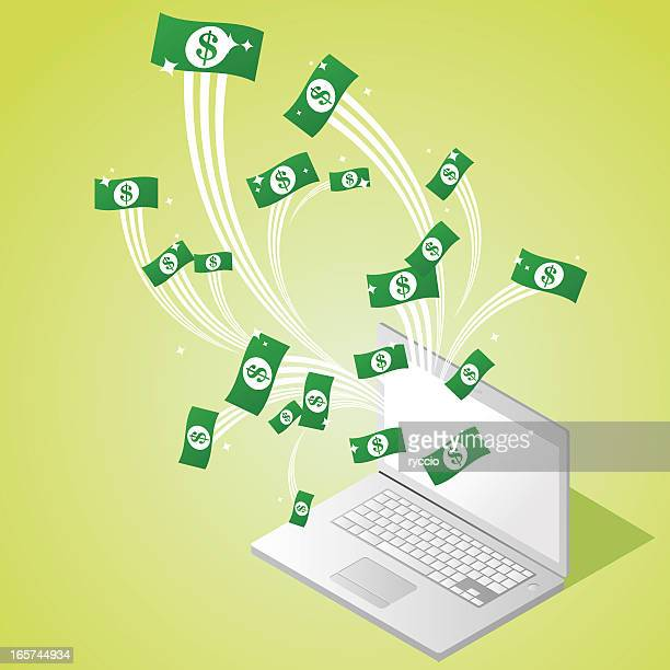 Money coming out from a laptop