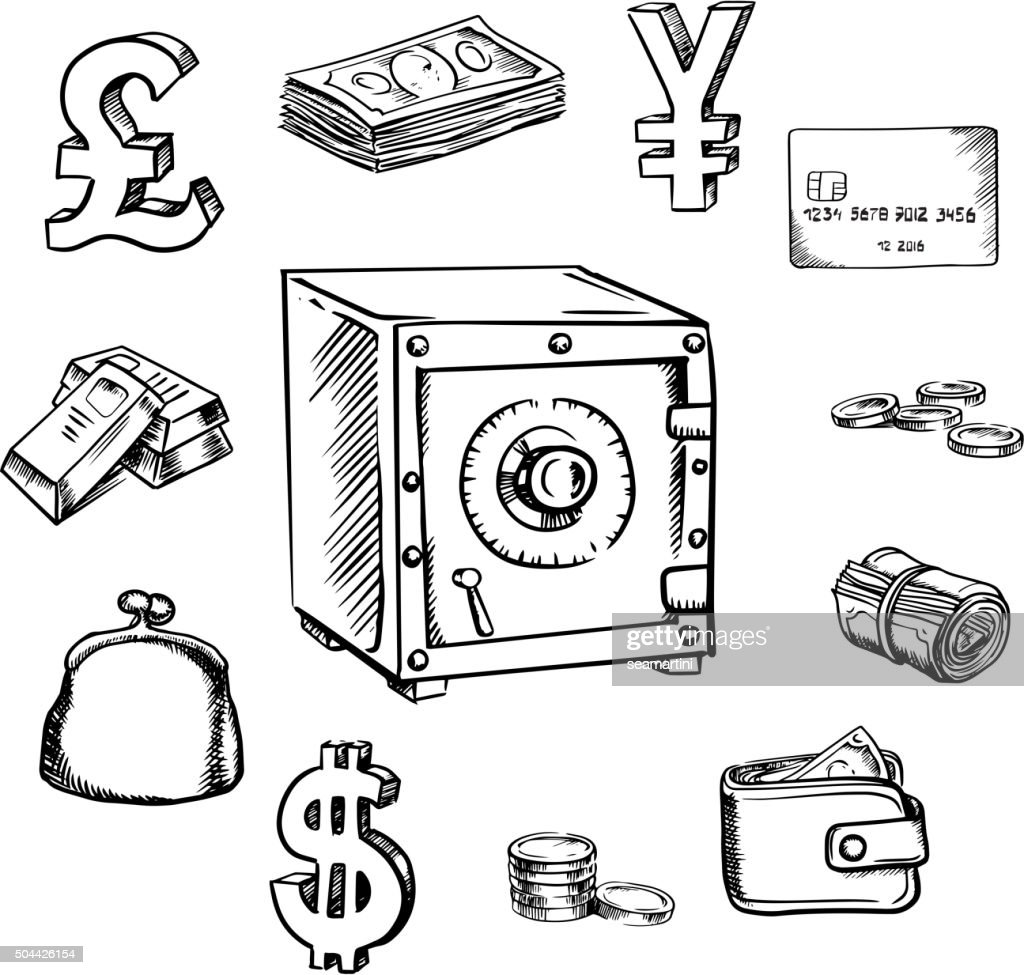 Money, currency and finance sketch icons