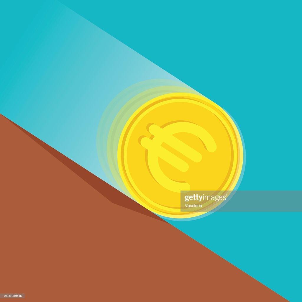Money depreciation. Gold coin with euro sign