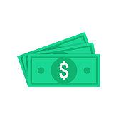 Money. Dollar bills, green banknotes, currency. Flat design. Vector illustration