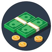 money dollar piles flat vector icon