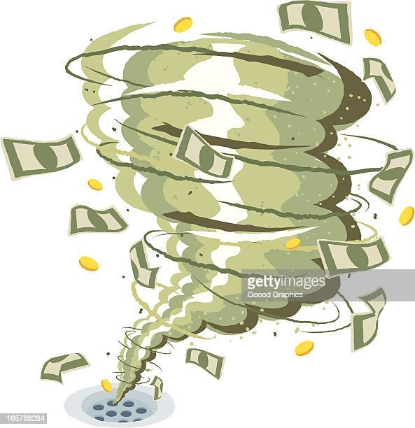 money drain - money down the drain stock illustrations, clip art, cartoons, & icons