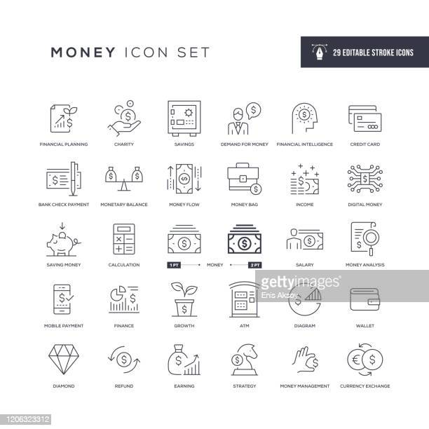 money editable stroke line icons - finance stock illustrations
