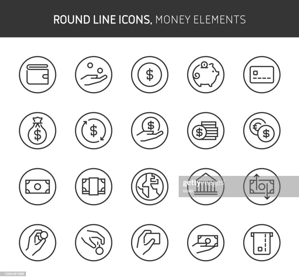Money elements theme, round line icons