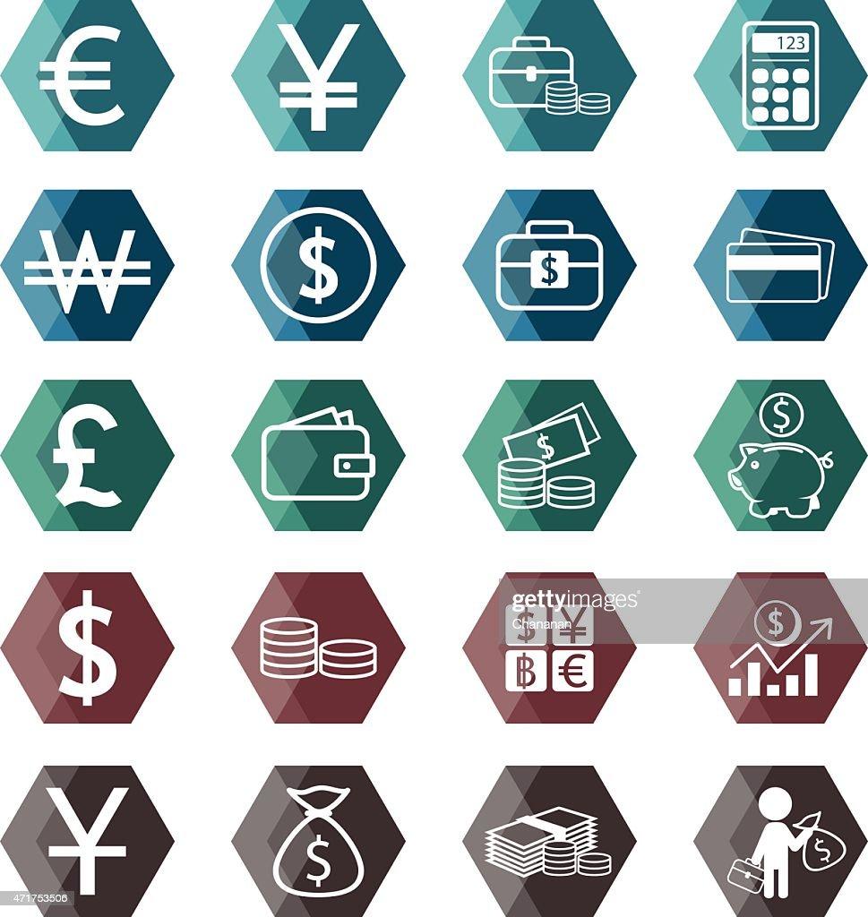 Money exchange Icon set