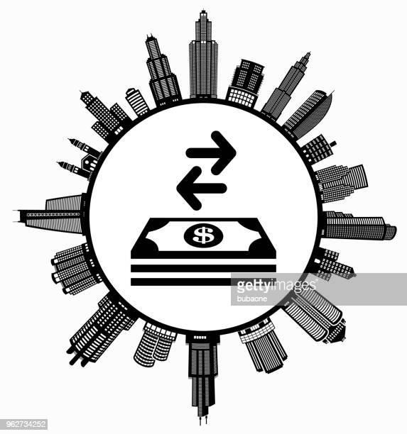 geldwechsel auf modernen stadtbild skyline hintergrund - stockwerk stock-grafiken, -clipart, -cartoons und -symbole