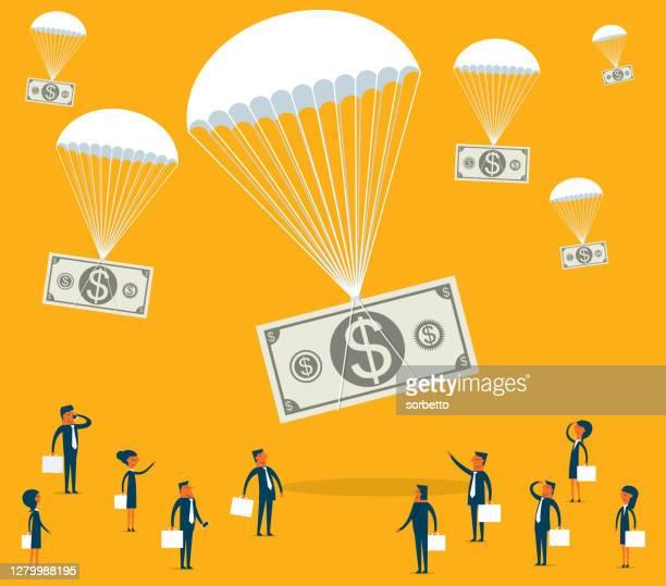 パラシュートに落ちるお金 - 着陸する点のイラスト素材/クリップアート素材/マンガ素材/アイコン素材