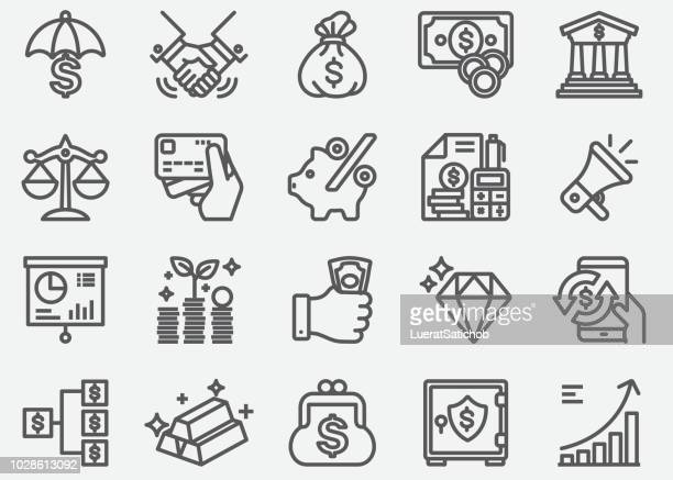 money finance business line icons - debt stock illustrations