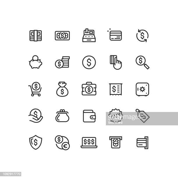 money & finance line icons - consumerism stock illustrations