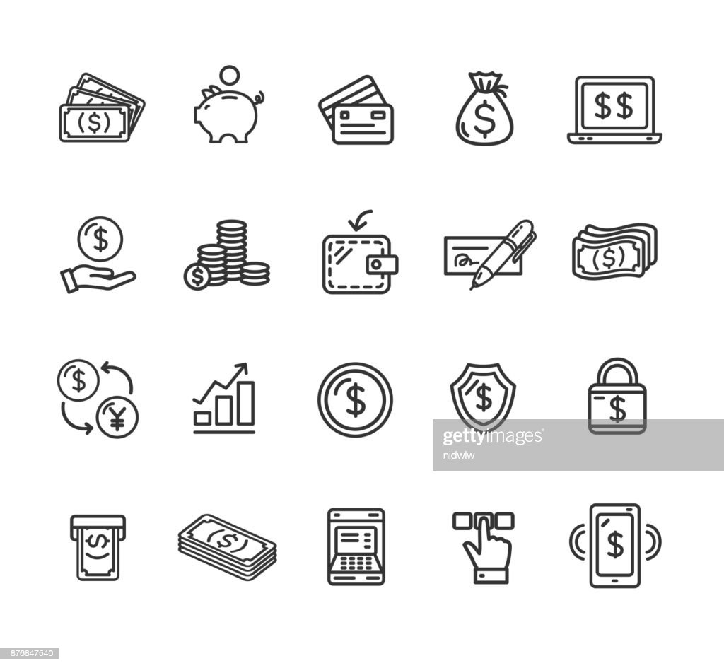 Money Finance Symbols and Signs Black Thin Line Icon Set. Vector