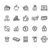 Money Finance Symbols and Signs Black Thin Line Icon Set. Vector