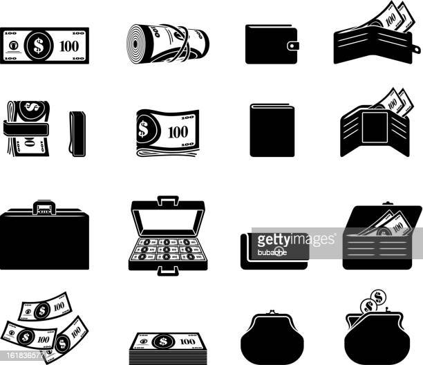 money finances black and white royalty free vector icon set - american one dollar bill stock illustrations, clip art, cartoons, & icons