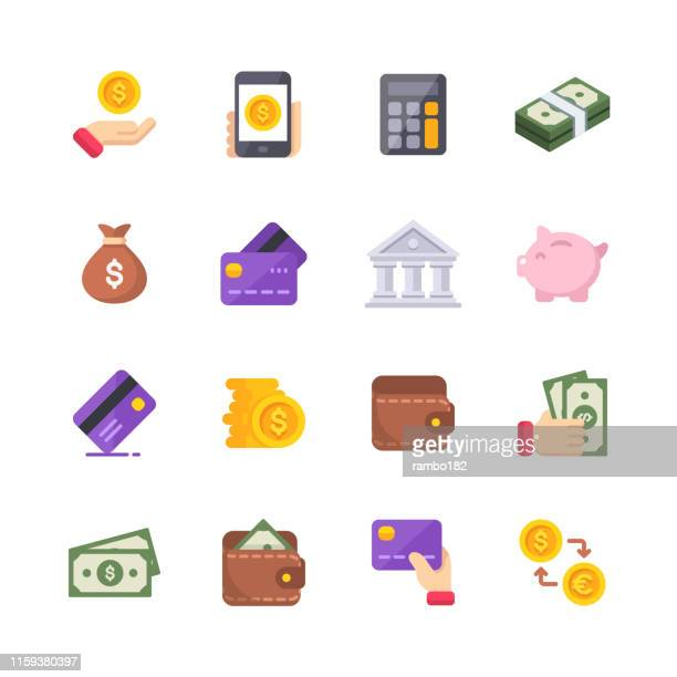 money flat icons. material design icons. pixel perfect. for mobile and web. contains such icons as isometric money, dollar bill, credit card, banking, wallet, coins, money bag, currency exchange. - cryptocurrency stock illustrations