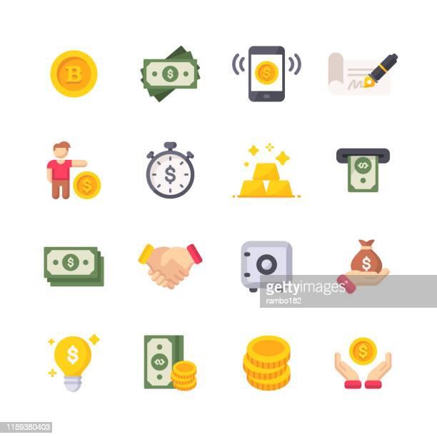 stockillustraties, clipart, cartoons en iconen met geld platte iconen. materiaalontwerp iconen. pixel perfect. voor mobiel en web. bevat pictogrammen als geld, dollar biljet, financiën, mobiele betalingen, persoonlijke financiën, veilig, money bag. - muntgeld