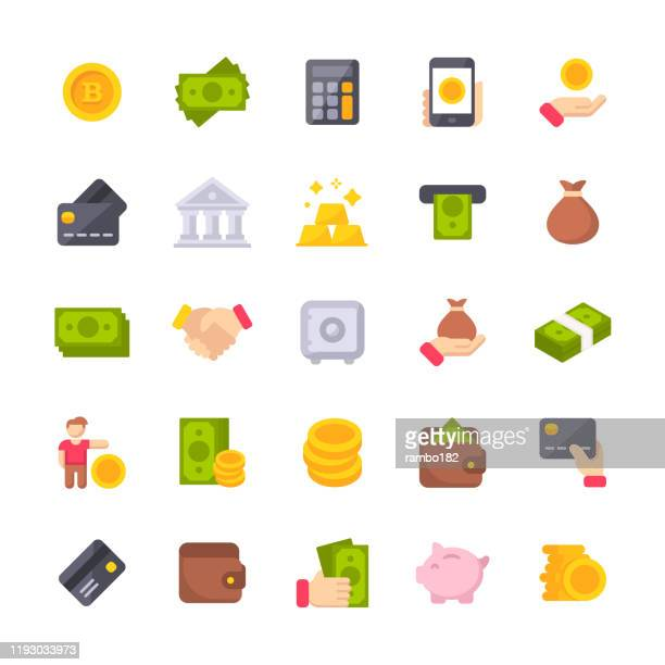 illustrazioni stock, clip art, cartoni animati e icone di tendenza di money flat icons. material design icons. pixel perfect. for mobile and web. contains such icons as isometric money, dollar bill, credit card, banking, wallet, coins, money bag, currency exchange, coin, bitcoin, cryptocurrency. - flat design