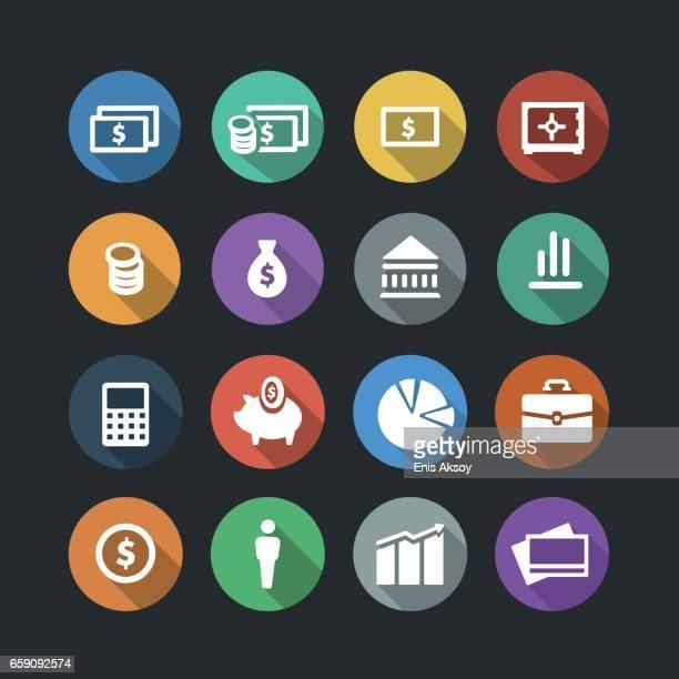 money flat icons - accountancy stock illustrations, clip art, cartoons, & icons