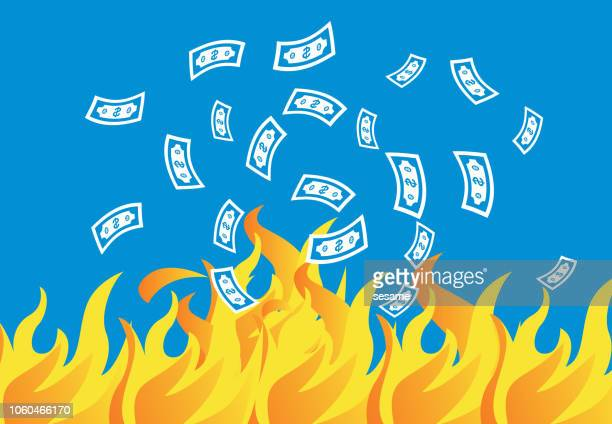 money floated into the sea of fire - money to burn stock illustrations, clip art, cartoons, & icons