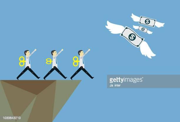 money flying away - poverty stock illustrations