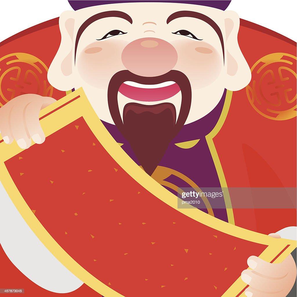 Money god holding a Fai Chun, Chinese couplet