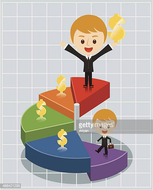money growth with pie chart - cash flow stock illustrations, clip art, cartoons, & icons