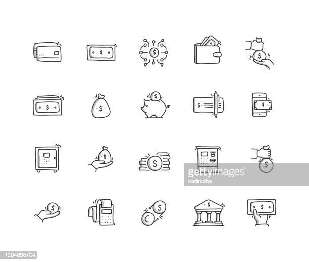money hand draw line icon set - pencil drawing stock illustrations