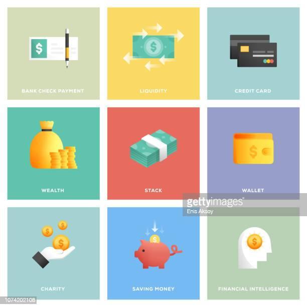 stockillustraties, clipart, cartoons en iconen met geld icon set - muntgeld