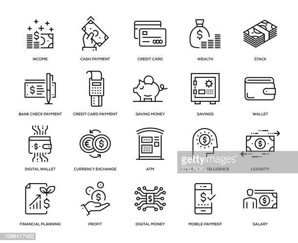 money icon set - financial technology stock illustrations